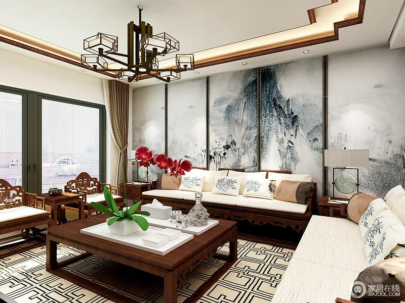 客厅给人的感受就是现代与中式的完美融合,双层木框吊顶让空间更加富有层次感;胡桃木色的家居和白色布艺沙发的结合让空间颜色有了强烈的对比,背景墙的山水画让空间变得的意境十足,足显中式儒雅。