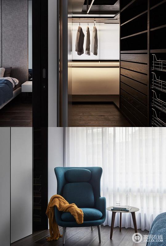衣柜以木纹染色、碳化色泽呈现,随光与影、虚与实之间构体,迷奚之间层层叠叠。