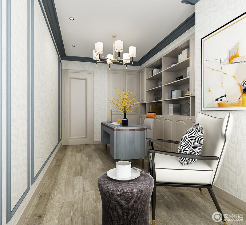 书房以原木地板铺贴出自然朴质,墙面以白色和蓝色壁纸的形式,造就空间的几何简美;整体配套的多样式家具,混搭出轻奢和别致,既满足主人的生活需求,也让生活愈加舒适。