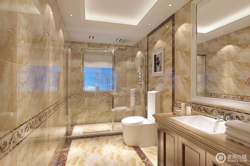 卫生间的整体布局简洁大方,墙面与地板运用花纹理石铺陈,打造明快的空间主调。干湿分区使用了通透的玻璃,使空间更显阔朗和轻盈。