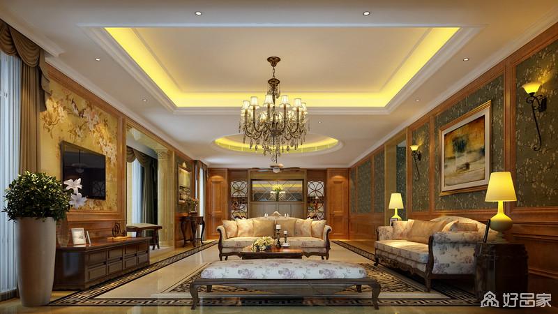 客厅以印花为主题,无论是电视墙上烂漫的花鸟图,亦或是沙发墙上的有机墨绿白碎花,再或是凤穿牡丹的沙发,都洋溢着芬芳清香,使整个空间充满了浪漫的迷人的气息。