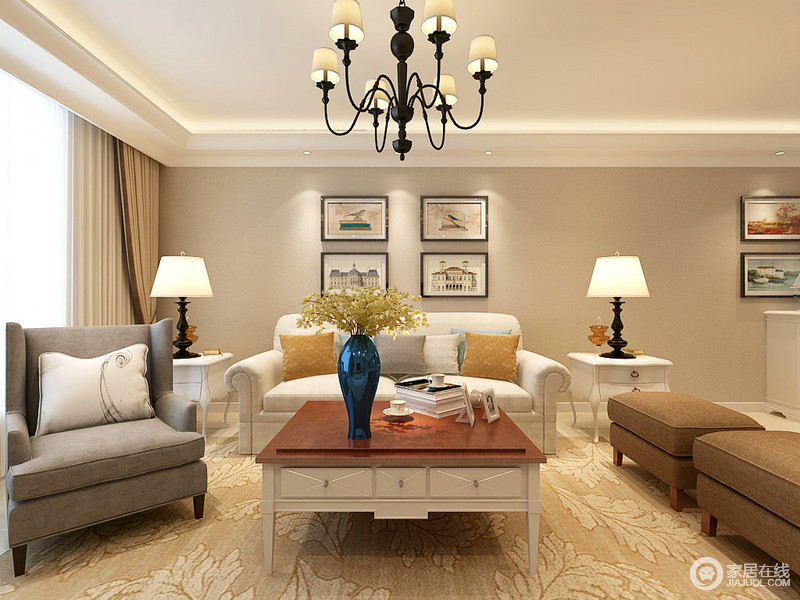 客厅以驼色粉刷空间,与白色吊顶的简洁构成利落大方,现代美式沙发以乳白、灰色和深褐色为组合,酿造着美式恬淡;米色树叶状的地毯充满了生机,原木茶几、挂画衬托着对称的白色桌几,让生活尽显和谐温馨。