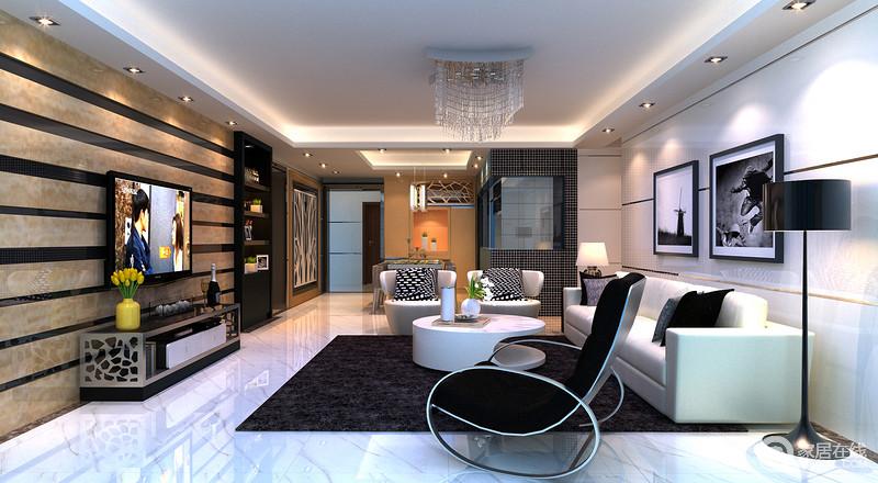 客餐厅一体式空间,让空间足够大气,客厅区以不同的材质为组合,却以条纹的设计来形成互动,带来不一样的律动;白色沙发与茶几搭配黑色地毯、单椅延续现代时尚,正如黑白挂画的艺术一般,充满个性,并与餐厅的挂画呼应着家的艺术与温度。