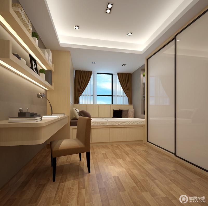 书房以原木地板作铺贴,并就榻榻米也以原木为主材,在实现功能的前提下,搭配简约的悬挂式书柜、木桌,营造空间的温暖;虽然灰色壁纸作了些许的美化,却没有减少生活的温情,反而,褐色窗帘与木椅增添了空间的醇厚、温馨。