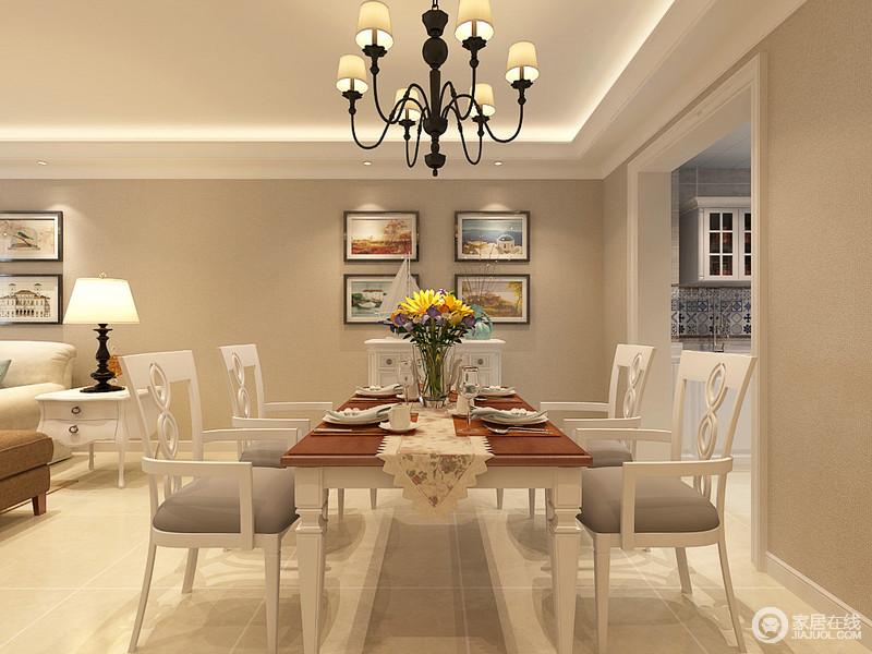 餐厅内陈列的挂画赋予空间生命和色彩,搭配白色系桌餐椅更是让生活既纯美又朴质;餐桌上的花器渲染着天然烂漫,与餐盘、杯子等造就了有品质的生活。