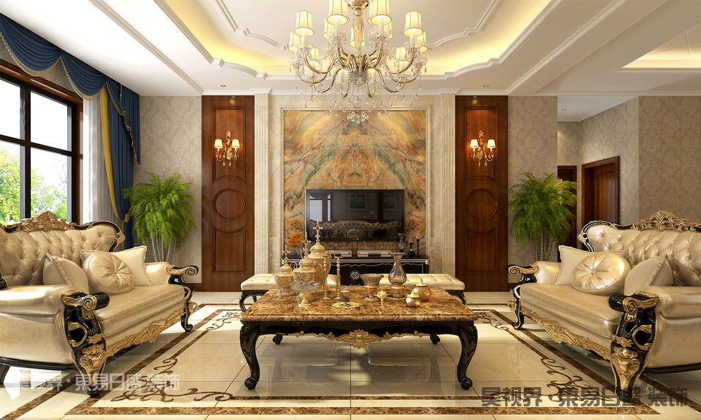 欧式造型,线条的设计也很有讲究,使整体空间具有更强烈的西方传统审美气息。家具设计采用宽大精美的家具,配以精致的雕刻,整体营造出一种华丽、高贵、温馨的感觉。