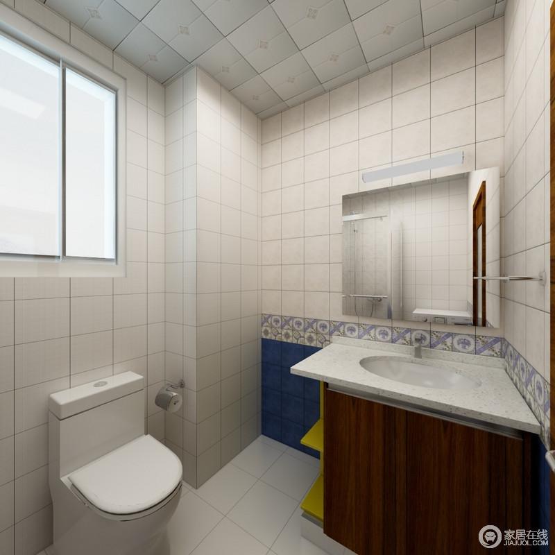 卫生间以基本的功能为主,并没有太多的设计,盥洗柜和镜面收纳柜,实现收纳,而地砖让空间更为棱角分明。