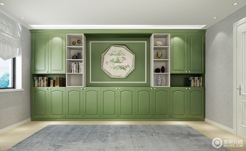 书房以浅灰色搭配绿色书柜,既简素又不失生活的生机感,虽然简欧书柜较为复古,却与现代线条的设计造就了生活的另一种品质。
