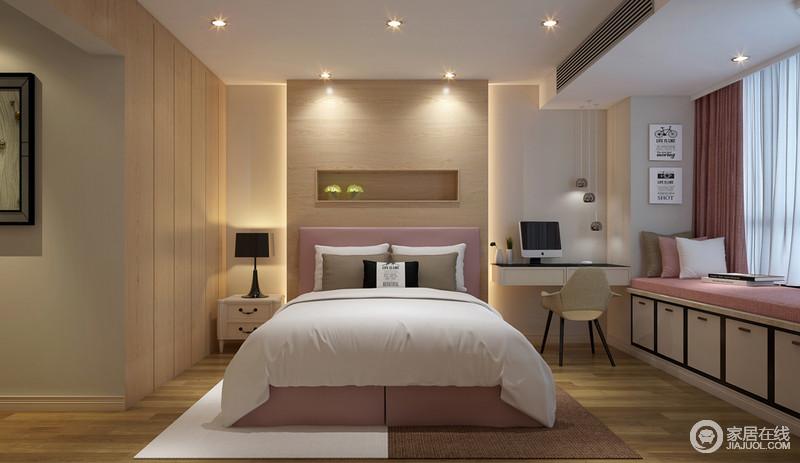 卧室以原木为主材,通过木板制成嵌入式衣柜,并将背景墙运用木板打造了一个简约的展陈区,以简约塑造和暖;空间设计巧妙地灯光设计减去了形式主义,以务实的设计将暖光造成深情;榻榻米的粉色柔和与窗帘构成温馨,呼应着床品更显舒适,白色与咖色拼接式地毯以创意造就时尚。