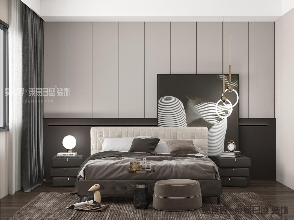 卧室的功能从未有太多的变化,它一直是睡眠、休息、存放衣物的主要场所,是居室中最个人化的空间。在这里同样采用柔和的色调来表现的这个卧室的无限温馨。