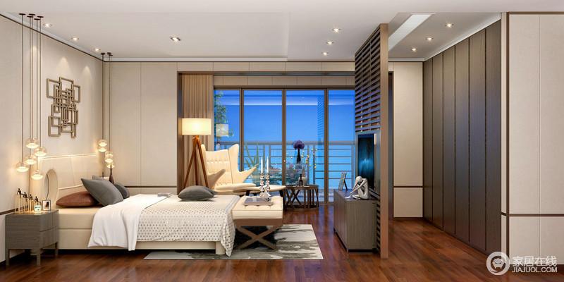 卧室以驼色为墙面着色,通过半隔断木楞电视墙将衣帽间与休息区分隔,也正是木材的色彩,让空间层次明晰;金属几何装饰和玻璃吊灯组合带着时尚,与现代家具、灰墨的地毯巧妙地营造出素雅和温馨。