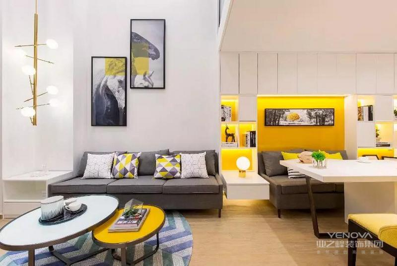 客厅的旁边是嵌入式卡座餐厅,亮黄色是整个家装的主色调,感觉整个空间都充满活力满满。