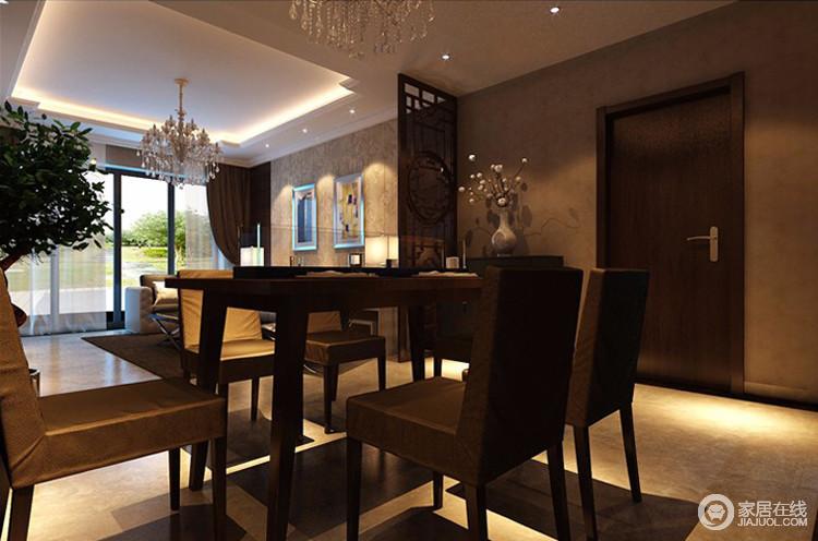 餐厅设计会有一些层次感,这样让整个空间变得更加地合理,同时也更加地有魅力,同时还有分割的功能性效果。这种分隔式的装修风格可以给人们诠释出一种层次感,并且这样让整个空间也得到了良好的运用。