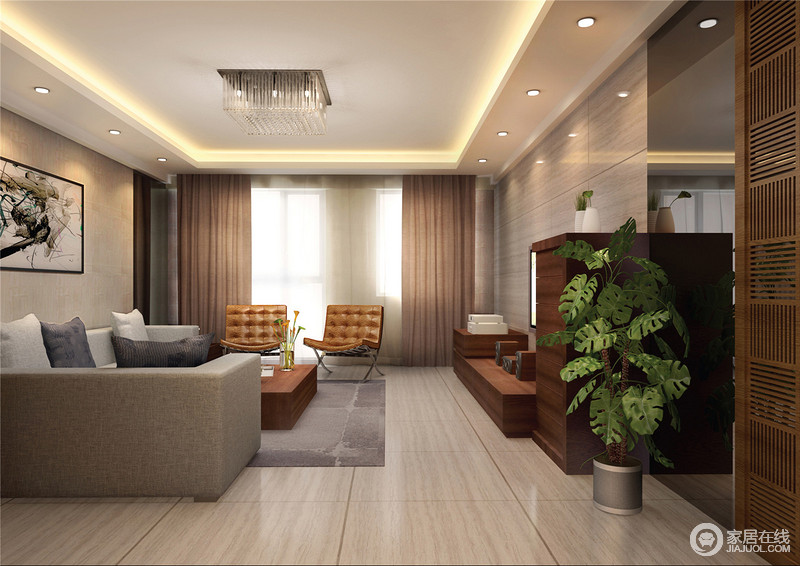 客厅的吊顶以灯带来强化几何设计,水晶吊灯搭配射灯,以不同的方式实现照明;灰色瓷砖铺贴出的背景墙十分利落简洁,与抽象的挂画形成截然相反的效果;灰色系沙发因为两把现代皮椅,张扬了经典时尚,更显质感。