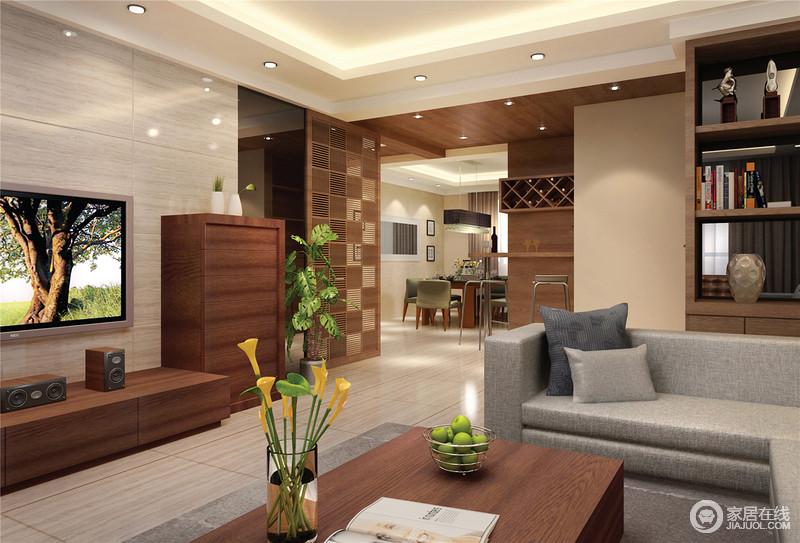 开放式的结构以功能和结构自然分区,大量的木材运用,赋予空间更多的温度,吧台区个性的小酒鬼,搭配高脚凳,足够让主人享受放松;客厅区的实木家具与整体空间的木材结合,传承朴质大气。