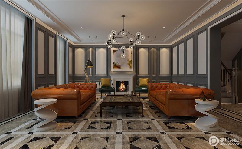 烟灰与米白色的护墙板,地板上的几何图案,营造出丰富且丰满的空间视觉。橙黄色双人沙发对称时尚,一侧叠加立体圆板几何茶几与魔豆灯造型充满了现代设计感。