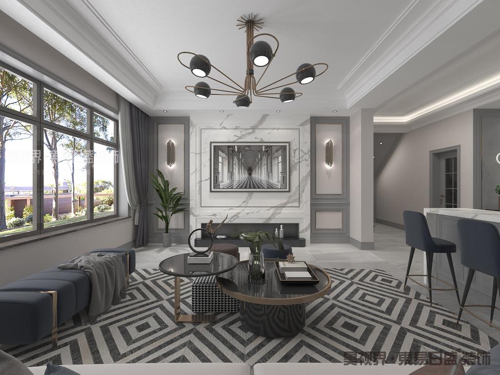 客厅以浅灰色与白色为主色调,柔和中带来些许沉稳,墙面搭配浅色的沙发,优雅而不失质感。灰蓝色沙发与地毯相映成趣,打造出客厅的别样风味。
