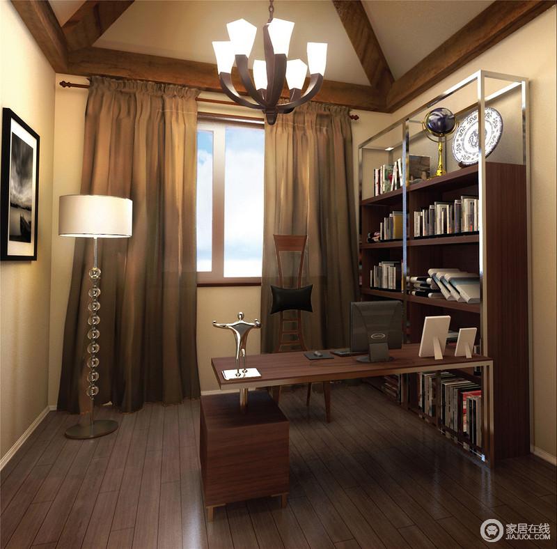 书房的木梁结构是空间的一大特色,搭配褐色窗帘,营造了稳重;实木家具和书架组合十分实用,而个性的木椅与水晶串珠落地灯带上设计上的个性,裹挟着黑白摄影作品,让生活具有文艺气息。