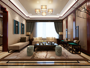 名仕温泉国际城-别墅410㎡-新中式风格案例赏析