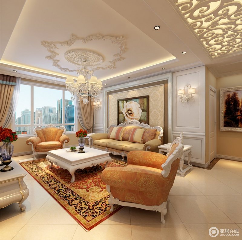设计师热衷印花的营造,墙面壁纸、地毯织物与雕花布艺沙发都洋溢着花团锦簇的田园感,就连客厅、走廊天花板都以花纹镶刻;橙与白的色调交叠,更添空间的欢快活泼。