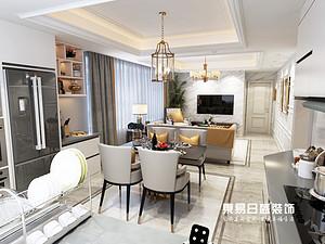 开元上府-三居室120平米-美式轻奢风格装修案例赏析