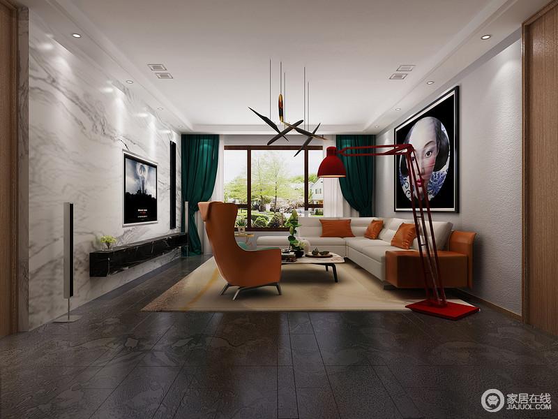 充满活力的宽敞空间,家具和软装上的色彩搭配,个性鲜明且形成碰撞,充满了独具创意的时尚潮流感;空间的空与满的节奏,在丰富的材质演绎下,收放自如。