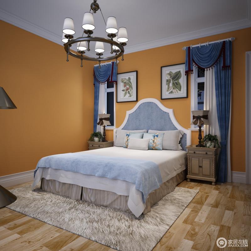 橘黄色温馨悦动,作为背景墙耀眼且活力四射;为了避免色调的太过热情,设计师将床品布艺与窗帘,以蓝白舒和搭配调节平衡空间视感;空间在大胆的色彩碰撞中,带来极致惊艳的浪漫和灵动。