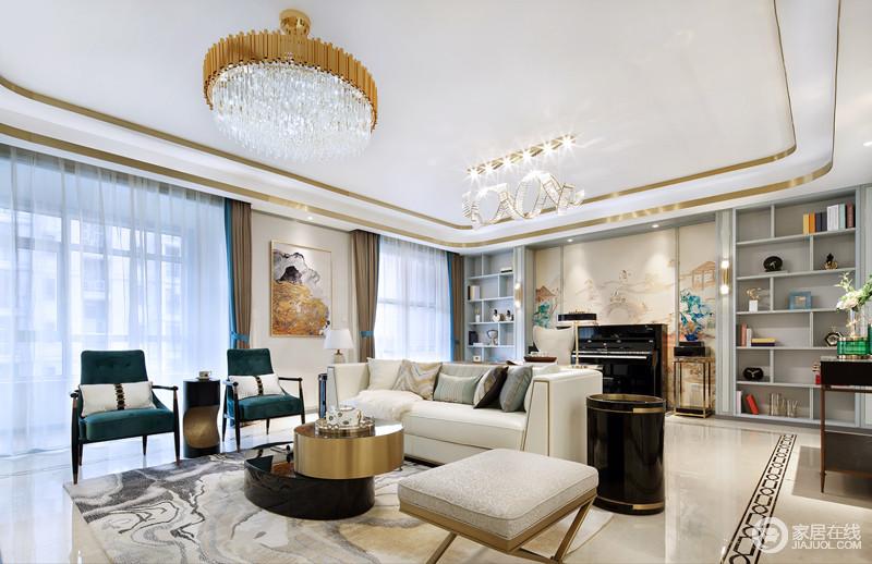 客厅整体以暖白色为整体家居的主基调,暖白相间更有家的温度,配以原木式面家具,简单大方,干净舒适;金属装饰吊顶搭配水晶灯,让空间满是华丽,而现代精致地家具组合,绽放着现代摩登。