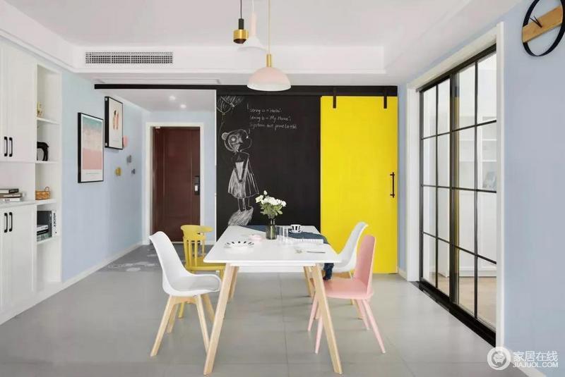 餐厅,白色餐桌搭配样式不一的餐椅,加上整体灰蓝色的墙面,给人一种轻松自然的感觉。