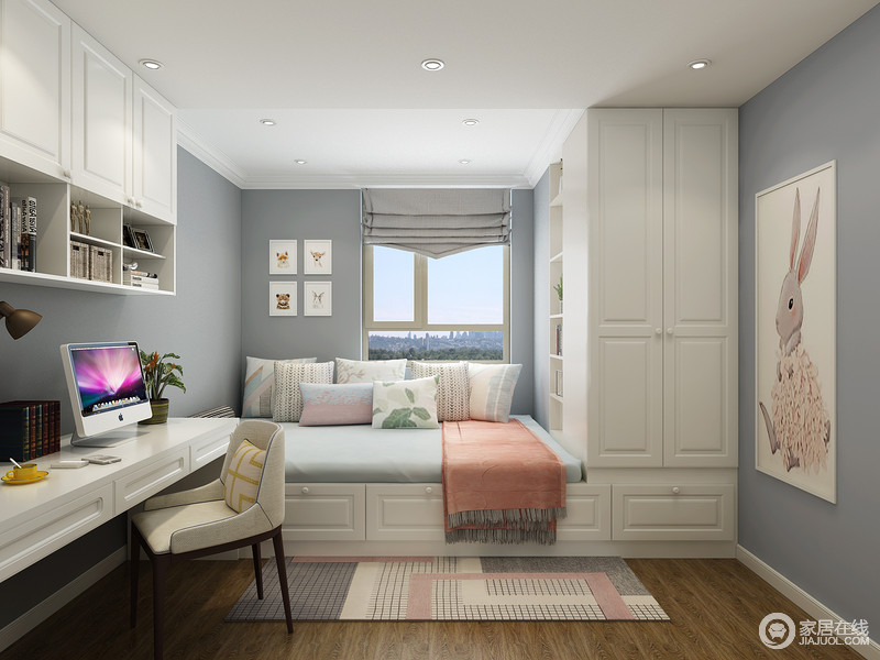 此空间多以灰蓝为主,搭配白色定制柜,既实现了空间的功能性设计,又以色彩反差造就空间的利落;墙面的兔子挂画,桃粉色毛毯和几何地毯,为空间营造的浪漫,甜美的氛围。