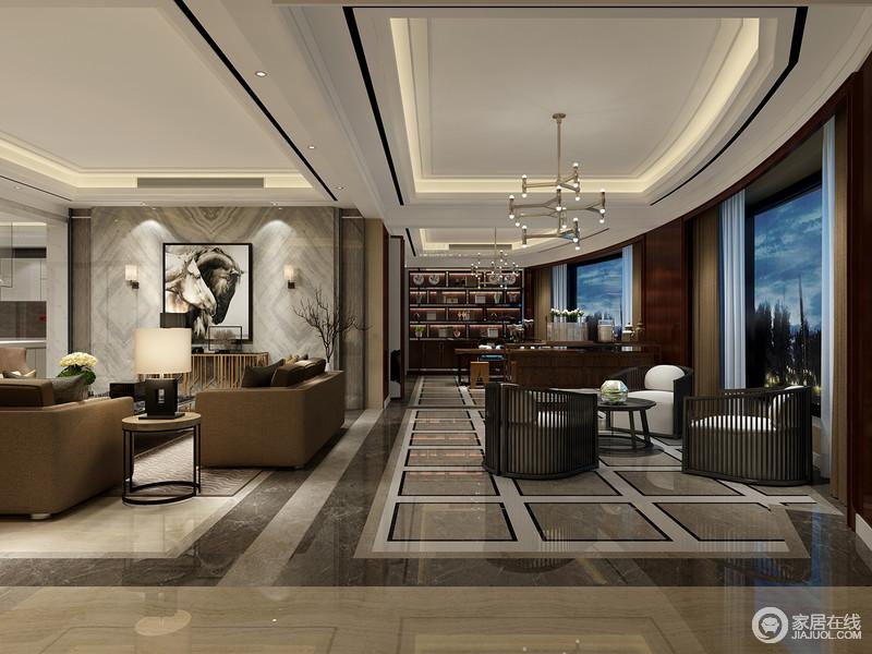 空间因为建筑结构的美让设计锦上添花,弧度的结构可以俯瞰窗外的云景绿林;从客厅到阳台以现代工业气息将其连接起来,几何地砖与实木楞条沙发表达着几何之美,冷调中富有质感。