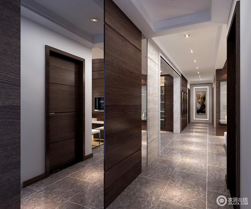 整个空间在结构和线条的设计上都力求简洁,所以,你会发现大量的几何隔断和线条,让空间看似分区,却足够互动和通透;射灯组合既增加照明,也延续简单的主张,走廊尽头的几何墙以灯带和挂画的点缀来加以强调,表达着现代艺术的大气。