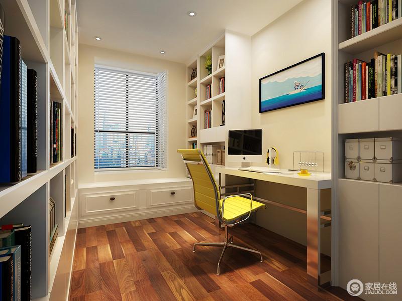 书房将两侧的立面设计成书柜墙增加了藏书功能,并通过书柜的几何感呈现出强烈的立体艺术;简约的书桌在黄色转椅的衬托下,明快耀眼,以明艳的色彩让白色空间不单调。