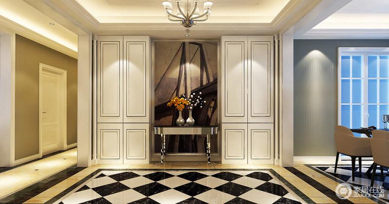 玄关与餐厅、走廊色调无形中划分空间,对称立体置物柜采用墙板造型,与黑白几何地板强调空间视觉丰盈感。时尚金属边几上,黄白花卉点缀出自然意趣,背景油画凸显人文情怀。