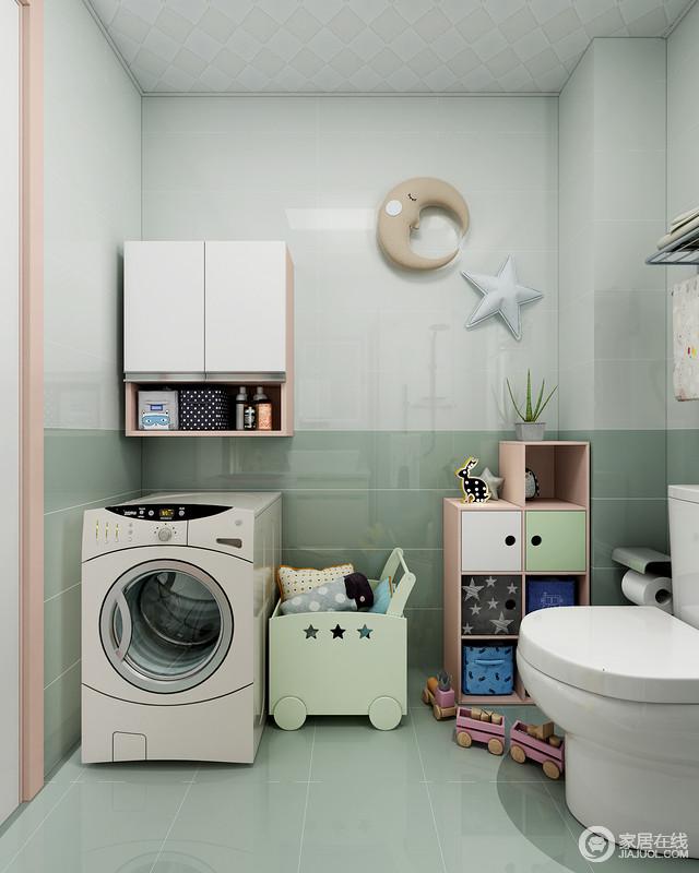 儿童也应该拥有自己独立的洗衣机,不仅保护了孩子的卫生安全,也可以培养其独立性;彩色收纳几何柜和衣物收纳盒,不仅解决了收纳的问题,还有效地提升了空间的童趣。