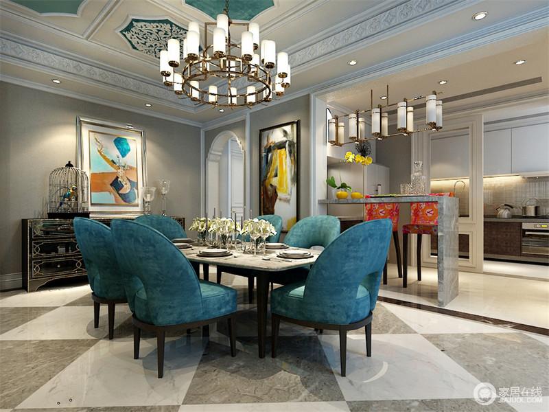餐椅造型独特色调饱和,带着一抹法式的优雅,如同墙上抽象水彩装饰画,洋溢着不可捉摸的艺术雅致。餐厅与厨房通过大理石吧台分隔,高脚橘红花布椅则是空间点睛灵动亮点。