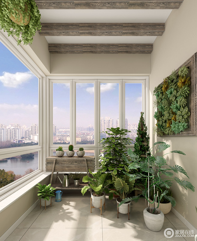 墙壁上方形的花架与收纳柜可以摆放更多地盆栽绿植,让原本素朴的空间,有了新鲜感,给予生活生机与活力。
