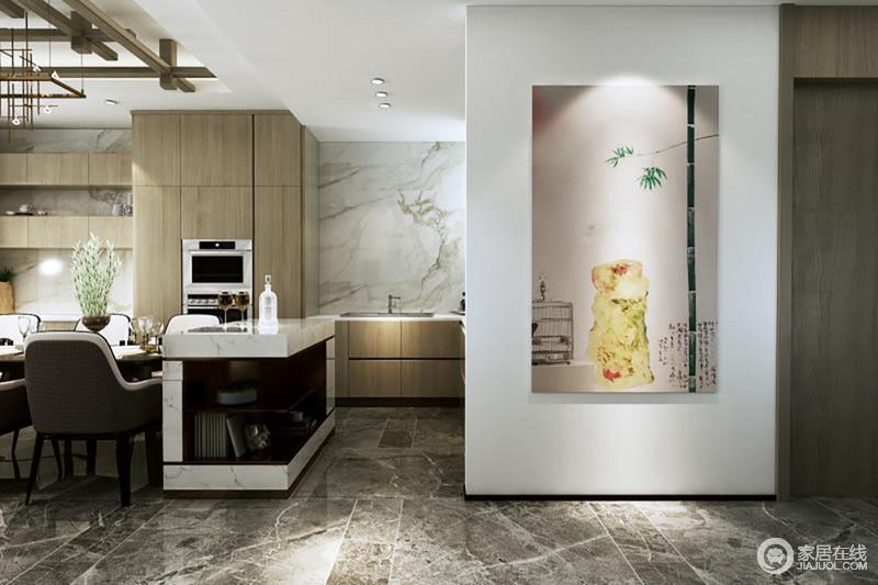 进入门厅便是一副卡通画,在射灯的照耀下,具有了电影场景感;旁侧的开放式的橱柜因为设计和大理石材质的组合,凸显现代质感,同时,也展现了主人对生活有着不凡地品味。