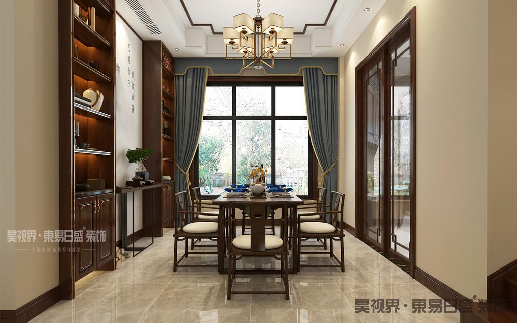 餐厅中,深棕色的实木家具、柔和的淡黄色墙面以及造型古朴的壁画,共同营造出一种温暖与雅致的家庭氛围,并将新中式空间的艺术之美推向了极致。