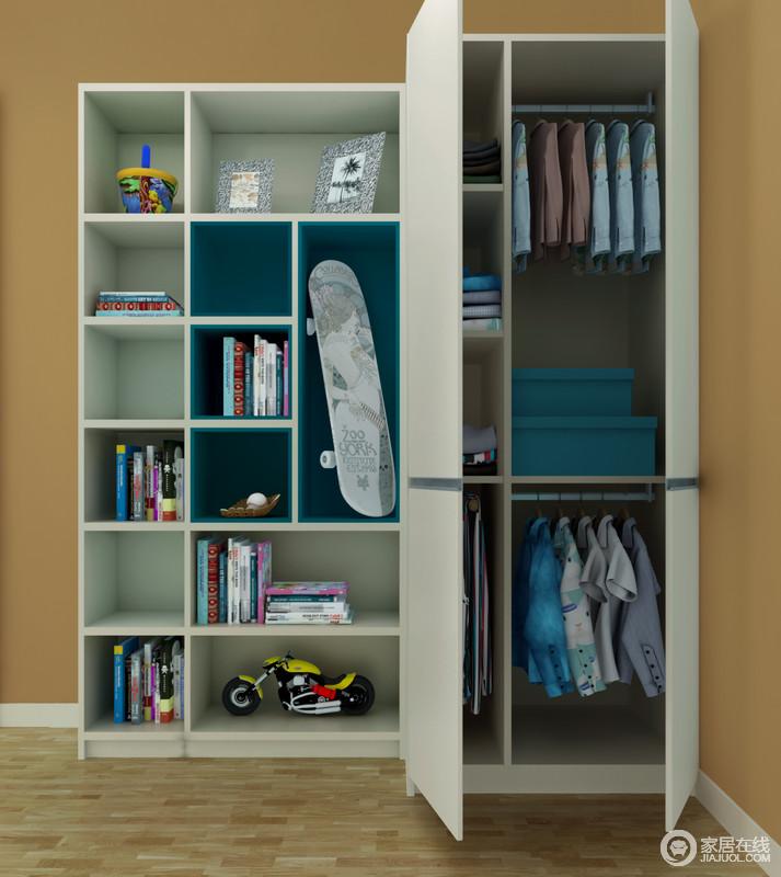 多层挂衣杆可以挂大量的衣服。整个衣柜空间能得到充分利用! 多功能置物空间,多框架,书架间隔合理,收纳功能强大。